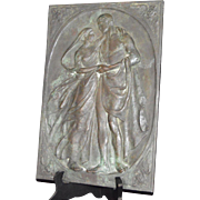 Art Nouveau Bronze Plaque-Signed A. H. Crafted in Relief Style