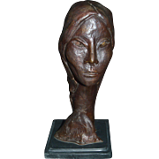 Rafael Signed and Numbered Modernist Bronze Bust
