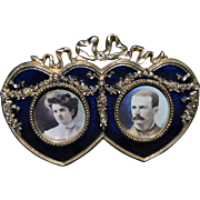 Double Heart Blue Enamel Picture Frame