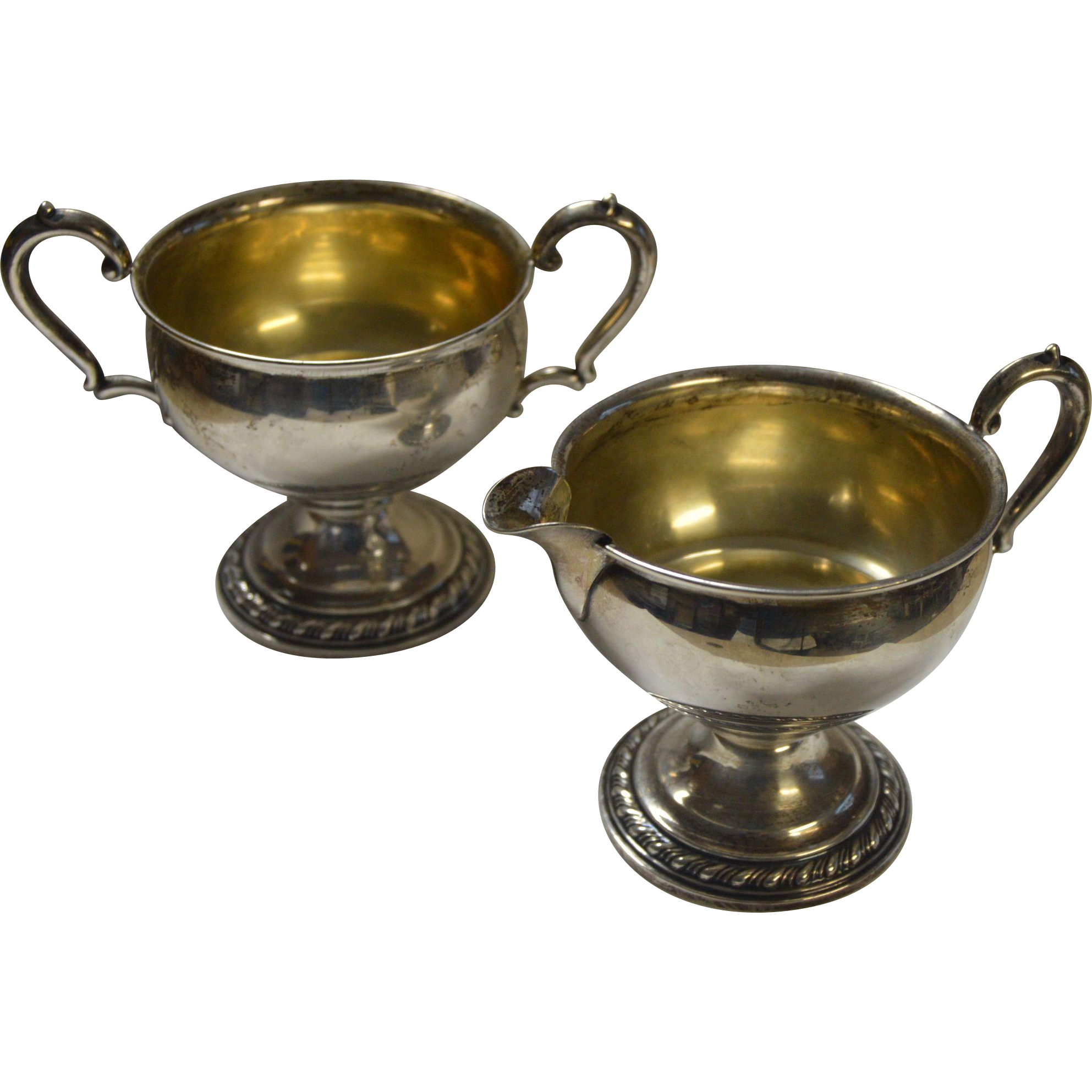 Sterling Sugar And Creamer Weighted From Hollin Gate On