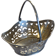 Vintage Reticulated Silver Bonbon Basket with Moveable Handle