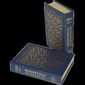 """Roosevelt"" by James McGregor Burns, Two- Volume Set Leather Bound Books"
