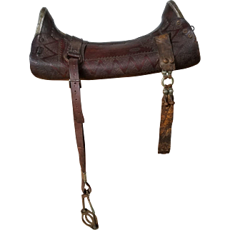 """Vintage """"Serigote Chapeado"""", Brazilian Saddle with Silver Plates and Gold Details, Bridle and Bit"""
