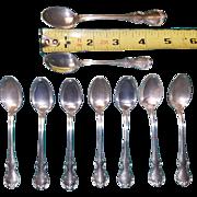 8 Sterling Demitasse Spoons plus 1 Slightly Larger Bonus Spoon