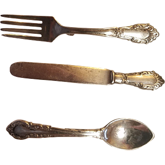 3 Lovely Sterling Flatware Brooches