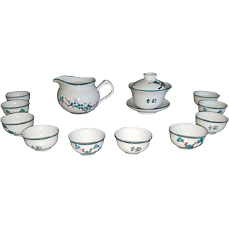 Elegant Hand Painted Chinese Porcelain Tea Set w/10 Cups