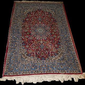 "Collector's Wool on Silk Persian Isfahan 5' 6"" X 3' 7.5"""