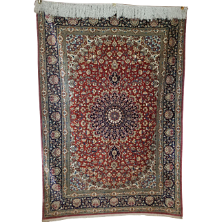 Beautiful Vintage Silk Qum Persian Rug