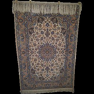 "Collector's Wool on Silk Persian Isfahan 5' 5"" X 3' 7"""