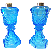 Pair of Rare Antique Blue Sandwich Whale Oil Lamps