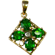 Pretty Vintage Necklace Pendant with 4 Chrome Diopside and 10K Yellow Gold