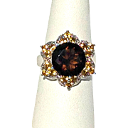 Large Flower Ring with Smoky Quartz, Citrine, and Sterling Silver