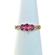 Vintage Oval Pink Tourmaline Ring With 10K Yellow Gold