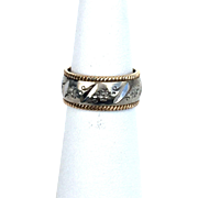 14K two toned White and Yellow Gold Wedding Band