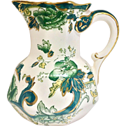 Vintage Mason's Ironstone Chartreuse Pitcher with Serpent Handle, Green Floral, and Gold Details - Red Tag Sale Item