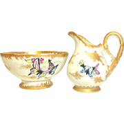 Vintage French Limoge D&C Hand Painted Pitcher and Bowl Set with Butterflies