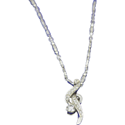 Beautiful Necklace with 18K White Gold Diamond Pendant on a 22K White Gold Chain