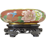 Vintage Cloisonne Bowl and Stand: with Blue bird and pink flower painting!