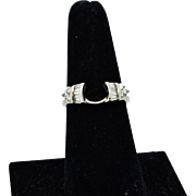 14K White Gold Vintage Ring Wrap/Guard with round and baguette Diamonds!