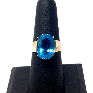 Large Oval Blue Topaz set in 14K Yellow Gold Ring