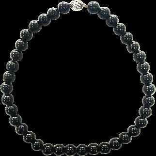"Retired Tiffany & Co. Ziegfeld Collection Black Onyx Bead Ball 16"" Necklace"