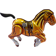 Vintage Tin Mechanical Wind-up Toy Horse