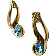 Pear Shaped, Blue Topaz Dangle Earrings with 14K Gold