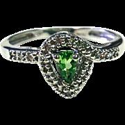 Pear Cut Tsavorite Garnet Ring with round Diamonds and 10K White Gold