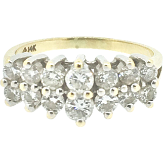 Vintage 14 Diamond Ring with 14K White Gold Head & 14K Yellow Gold Shank