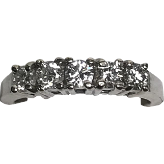 Vintage 5 prong Set Diamond Band in 14K White Gold