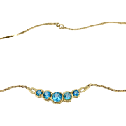 Vintage Paraiba Topaz Necklace set in 14K Yellow Gold