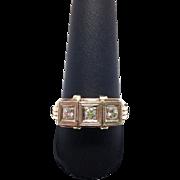 Art Deco Style Men's Ring with 3 Round Diamonds 14K Gold