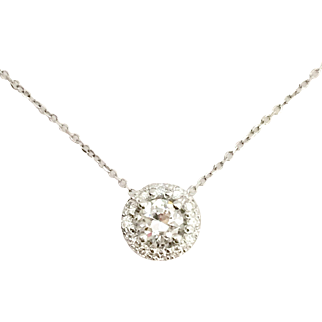 Vintage Diamond Halo Pendant in 14K White Gold With cable Chain