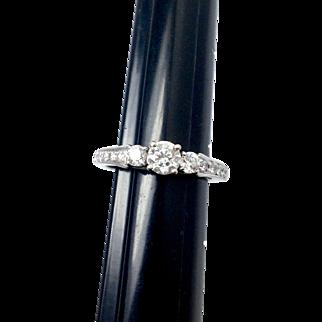 Vintage Diamond Engagement ring with Filigree Design Under Head 14K White Gold