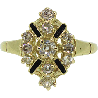 14k Yellow Gold Antique Enamel and Mine Cut Diamond Ring