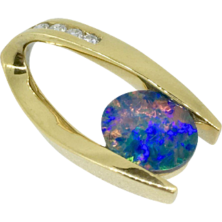 14 K Gold Necklace with Black Opal and Diamonds