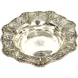 Vintage Sterling Silver Reticulated Bowl with Engraving