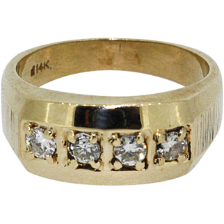 Exquisite 14k Yellow Gold Men's 4 Stone Diamond Ring