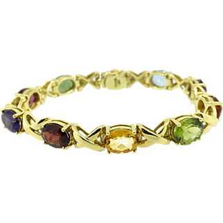 T. Foster & Co. 18K Yellow Gold Multi Gem Bracelet