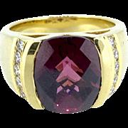 Movado 18K Yellow Gold Garnet & Diamond Ring