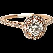 18K Rose Gold Antique Diamond Halo Ring 1.14ctw