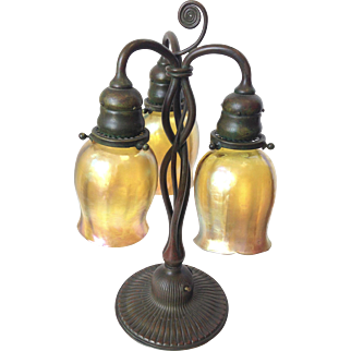 Authentic Antique Tiffany Lamp with two perfect Tiffany glass lamp shades