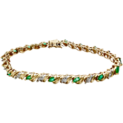 Vintage 10 K Gold Emerald and Diamond Bracelet with Safety Clasp