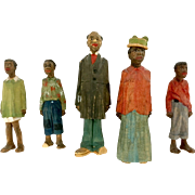 Five Hand Carved Wooden African American Folk Figures by Dr. Adrian R. Woodell
