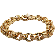 14K Yellow Gold Fancy Link Charm Bracelet with Satin and Matte Finish