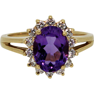 14k Yellow Gold Halo set Oval Amethyst & Diamond Ring