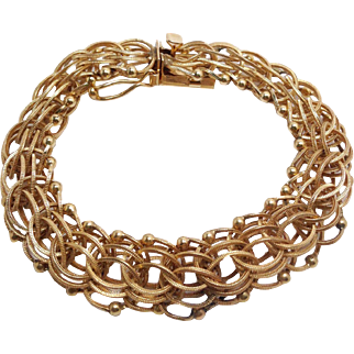Vintage 14K Yellow Gold Bracelet with Safety Clasp