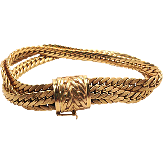 Unique 3 Strand 18K Yellow Gold Bracelet with Safety Clasp