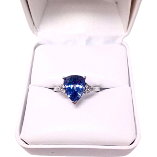 Blue Sapphire Pear with 6 Round Diamonds in 10K White Gold