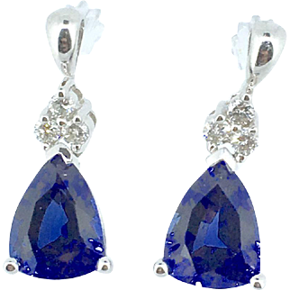Synthetic Blue Sapphire & Diamond Earrings set in 10K White Gold